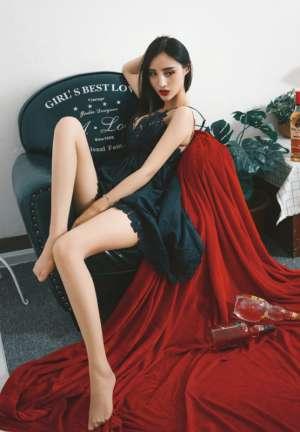 黑纱遮脸推女郎蕾丝吊带酥胸性感冷艳销魂长腿诱惑写真