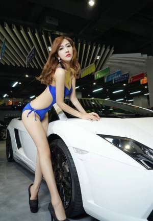 韩国美女车模车展大秀傲人身姿