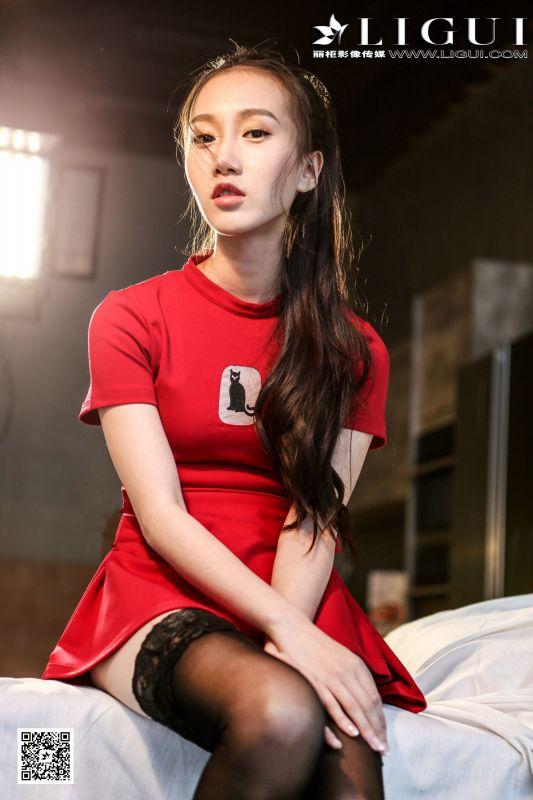 Model 红烛 - 黑丝红裙少女