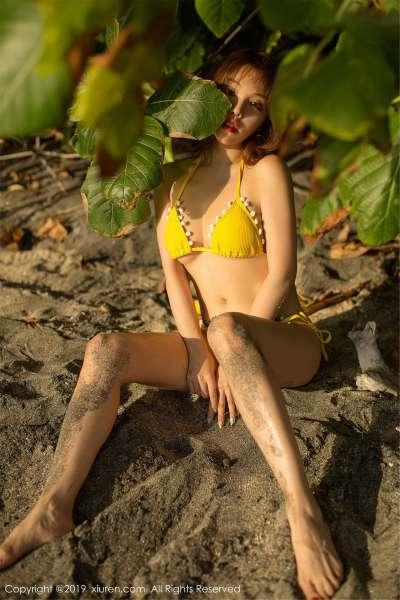 女神@黄楽然沙滩比基尼写真套图